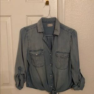 CLEARANCE: Chambray crop top w/ tie knot